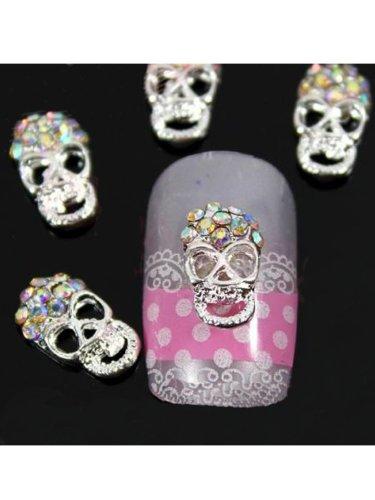 Lot de 10 décorations pour ongles à faire soi-même Five Season 3D têtes de mort colorées avec strass