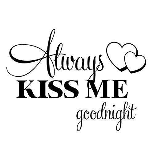 Wandaufkleber, Küss mich immer Gute Nacht Wandaufkleber PVC Aufkleber Home Schlafzimmer Wohnzimmer...