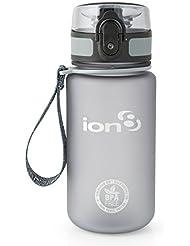 Ion8 auslaufsichere Wasserflasche / Trinkflasche, BPA-frei, Frostig grau, 350 ml