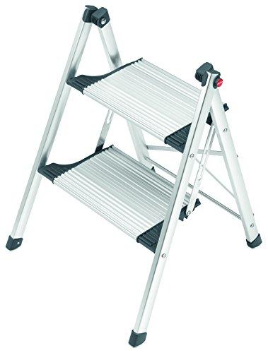 Hailo LivingStep Comfort Slim, Alu-Klapptritt, 2 Stufen, einfach zu verstauen, Füße mit Soft-Grip-Sohlen, Tragepad, belastbar bis 150 kg, 4322-001