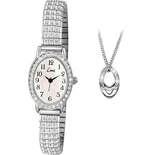 Limit Stone Set weißes Zifferblatt Silber Expander Armband Damen Armbanduhr und Anhänger 6029P