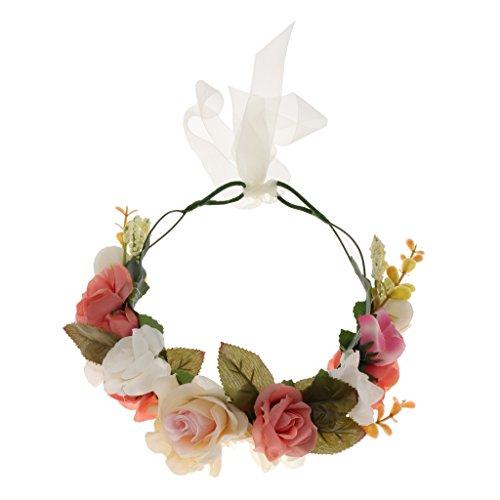 Phenovo Mariée Rose Fleur Couronne Bandeau Mariage Prom Beach Boho Guirlande Florale-Réglable
