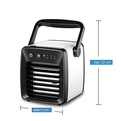 Huainiu Klimaanlage Mobil Ohne Abluftschlauch, 3 Leistungsstufen, Sommer Ventilator Jalousie, Luftbefeuchter Klimagerät Klima Tragbar, Schlafzimmer, Schreibtisch, Camping USB Wiederaufladbar