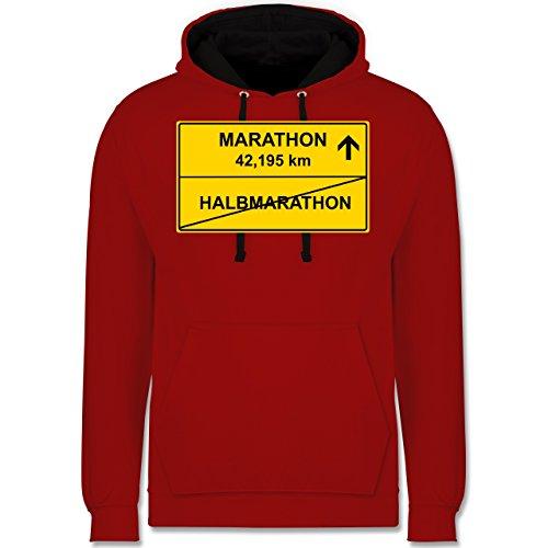 Laufsport - Marathon - Kontrast Hoodie Rot/Schwarz