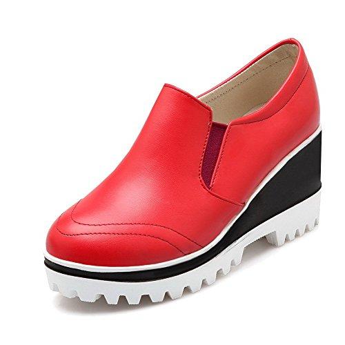 AgooLar Damen Rein Weiches Material Hoher Absatz Ziehen Auf Rund Zehe Pumps Schuhe Rot