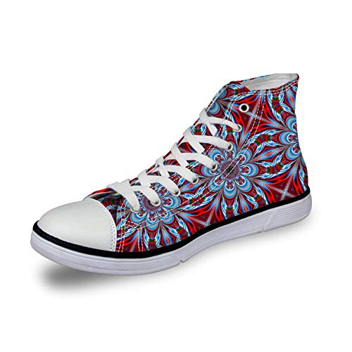 Trendy Pink Floral Women Shoes Hi Tops Canvas Plimsolls Lace Up Walking Pumps with red UK 7