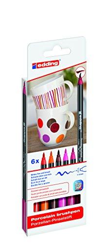 edding 4200 Porzellan-Pinselstift (auch für Glas und Keramik) - warme Farbtöne - Farb-Set mit 6...