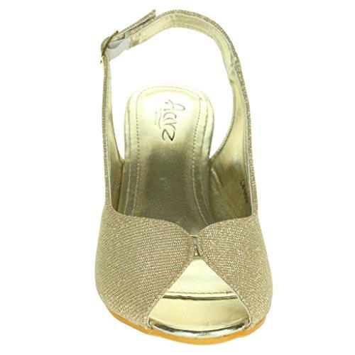 Frau Damen Schimmern Peep Toe Slingback Keilabsatz Abend Party Hochzeit Braut Prom Sandalen Schuhe Größe Gold