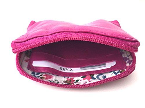 Pelle morbida con zip portamonete e carte di credito portamonete, Midnight (Multicolore) - 0327 rosa