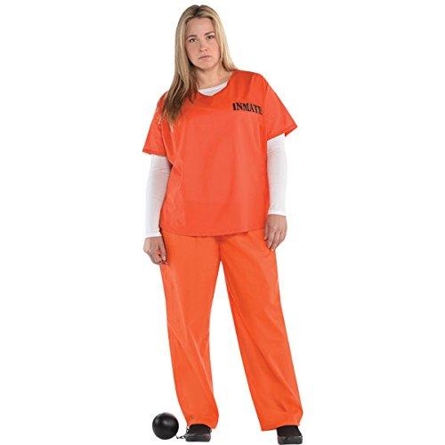 """""""Orange Inmate"""" Häftling Kostüm Damen Gr. Plus (Gefangener Kostüm Damen)"""