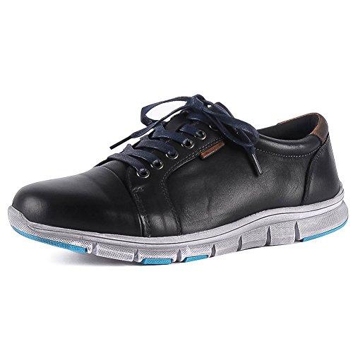 Herren Sneaker Leder Leichte Schnürung Distressed Sohle Komfort Lässig Laufende Wanderschuhe Klassisch Schwarz Größe EU39 - Distressed Herren Schuhe