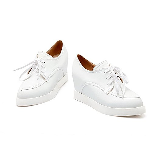 AllhqFashion Femme à Talon Haut Couleur Unie Lacet Matière Souple Pointu Chaussures Légeres Blanc