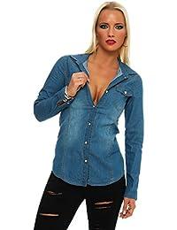 ffe3d8358745dc Fashion4Young 11051 Langarm Damen Jeans Bluse Hemdbluse Damenbluse  Jeanshemd Jeansbluse