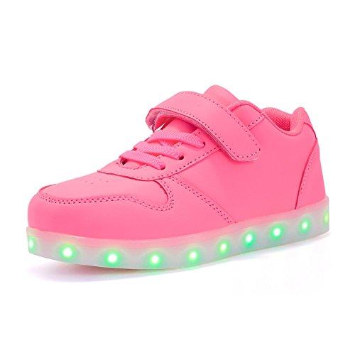 mit Licht Led Leuchtende Blinkende Low-top Sneaker USB Aufladen Shoes für Mädchen und Jungen(Rosa,EU28) (Schuhe Mit Lichtern)