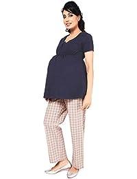 Maternity Comfortable Jersey Nursing Blouse In Navy