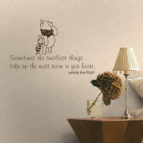 wandaufkleber 3d Wandtattoo Wohnzimmer Winnie the Pooh & Piglet Manchmal nehmen die kleinsten Dinge in Ihrem Herzen den meisten Platz für Baby Nursery ein (Baby Platz)