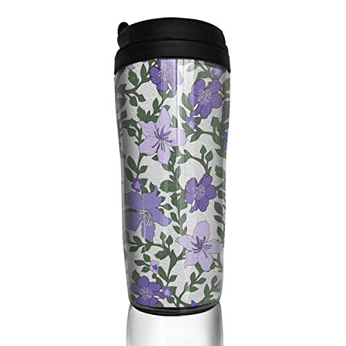 Travel Coffee Mug Rose and Hubble Ivy's Flowers Purple 12 Oz Spill Proof Flip Lid Water Bottle Environmental Protection Material ABS