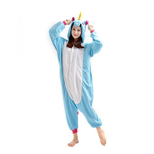 DarkCom Unisex Adult Cartoon Onesies Pyjamas Neuheit Cosplay Kostüme Nachtwäsche Jumpsuits Einhorn