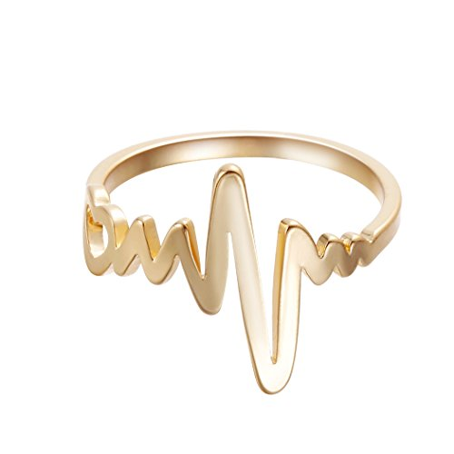 Mom-ring-schmuck (Herzschlag Ringe Frauen Finger Jewelry Gold Lightning Ring Fashion Charm Zubehör)