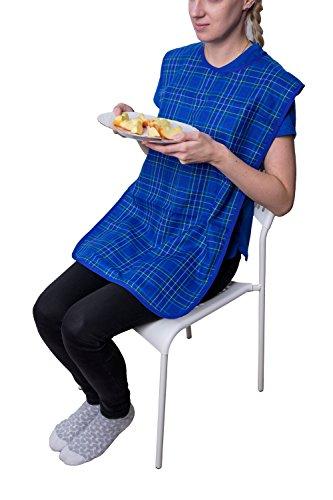 Pflegehome24® Lätzchen für Erwachsene, mit Druckknopfverschluss - blau-kariert