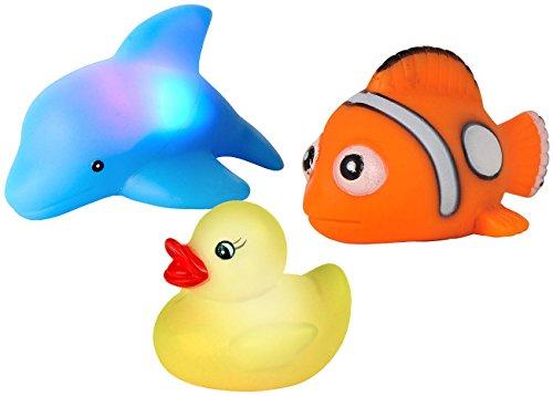 Playtastic PE-3381 Badewannentiere: Blinkende Badewannen-Tierchen im 3er-Set (Badewannentierchen), bunt