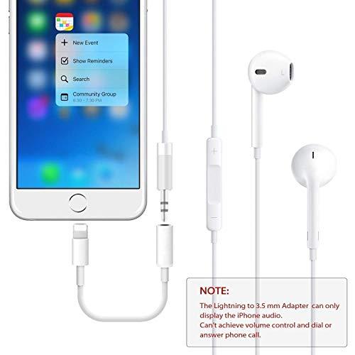 Kopfhörer-Aux-Audio-Jack-Adapter auf 3.5 mm für iPhone 7/7 Plus 8/8 Plus Kopfhörer-Kabelsteuerung Splitter-Extender-Adapter Kompatibles Audio + Charg + Control (Unterstützung für iOS 10.3 oder höher) - 5