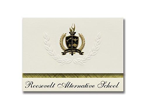 Signature Announcements Roosevelt Alternative School (Mission, TX) Abschlussankündigungen, Präsidential-Stil, Grundpaket mit 25 goldfarbenen und schwarzen metallischen Folienversiegelungen