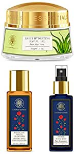 Forest Essentials Facial Toner, Pure Rosewater, 50ml, Travel Size Facial Cleanser Rosewater, Honey Lemon, 50ml, Pure Aloe Vera Light Hydrating Gel, 50g