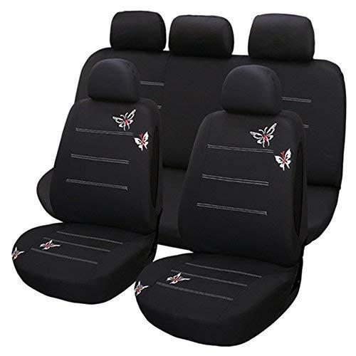 Set Completo di Coprisedili per Auto Macchina Seat Cover Universali Protezione per Sedile di Poliestere (ricamo farfalla) - Set Completo di 9