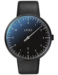 Uno Botta-design + Carbon rhöna reloj - Reloj de la mano, de acero inoxidable, esfera de colour negro, Colour negro, correa de cuero
