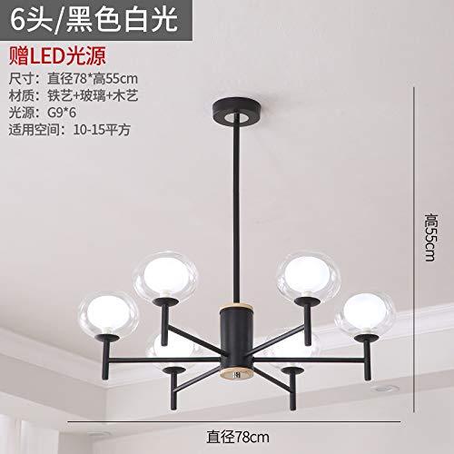 Araña de la sala de estar nórdica dormitorio simple red lámparas rojas fabricantes seis luz tricolor negro