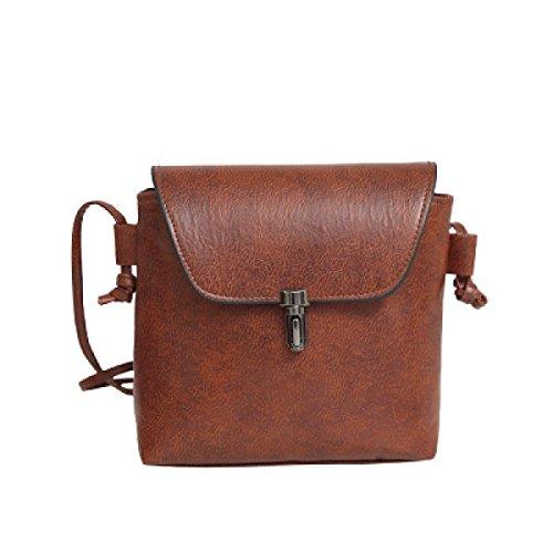 FZHLY Neue Art Und Weise Buckle Bucket Bag Retro-beiläufige Schulter Diagonal-Paket,DarkBrown (Buckle Satchel Handtasche)