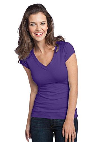District Women'S Cotton/Spandex Banded V Neck Tee M Purple
