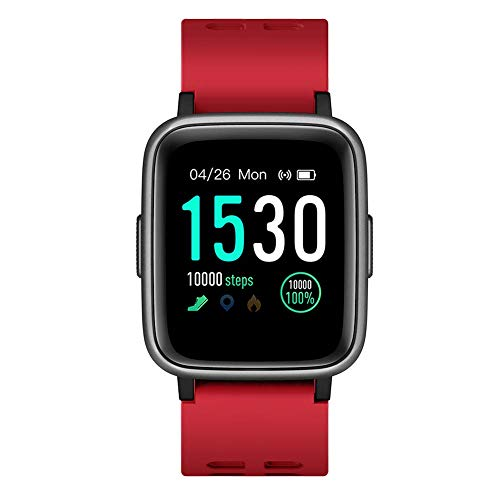DY-HaiNa Smart Watch Fitness Tracker, 5-ATM Wasserdichtes Bluetooth Sport-Armband Herzfrequenz-Schlafmonitor-Armband für iOS Android iPhone (Rot) (Smart Rugby Samsung)