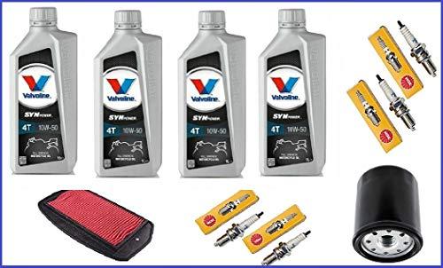 Kit Tagliando Yamaha fz6 600 2004-2010 4lt olio Valvoline 10w40, filtro olio,filtro aria,4