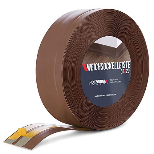 HOLZBRINK Weichsockelleiste selbstklebend SCHOKOLADE Knickleiste, 50x20mm, 10 Meter -