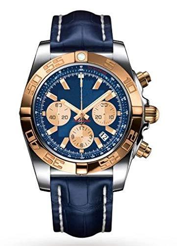KLMWDSB Reloj para Hombre Marca Nuevo Cronógrafo Hombres Cronómetro Zafiro Cristal Plata Oro Azul Cuero Cuero Relojes Deportivos AAA +
