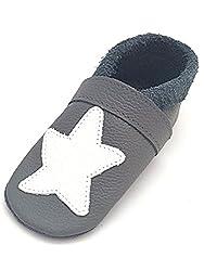 little foot company® 892 Krabbelschuhe Babyschuhe Lauflernschuhe Seestern weiches Leder steingrau 22/23 ca. 2-3 Jahre