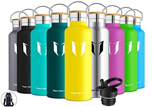 Super Sparrow Trinkflasche Edelstahl Wasserflasche - 750ml - Isolier Flasche mit Perfekte Thermosflasche für Das Laufen, Fitness, Yoga, Im Freien und Camping | Frei von BPA (Zitrone)