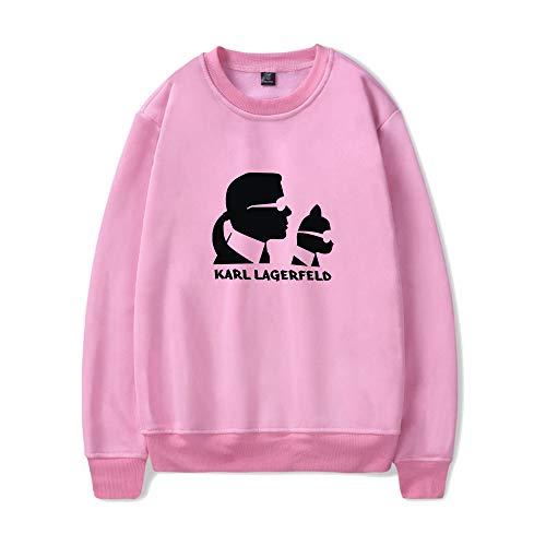INSTO Sweatshirt Karl Lagerfeld Karikatur Gedruckt Sweatshirt Beiläufig Lose Kapuzenpullover Unisex Einfach Freizeit/Rosa/Xxl