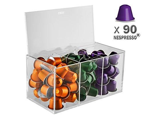 Leox Kapselständer Nespresso 90 Kaffeekapsel Halter Organizer Accessories Ordnungsbox Aufbewahrungsbox Kapselhalter Kaffekapsel Display - transparent
