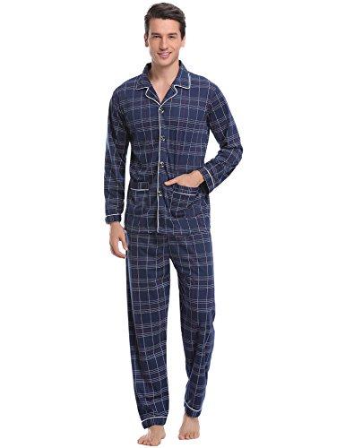 Aibrou Herren Baumwolle Pyjama Set, Karierter Zweiteiliger Schlafanzug Langarm Shirt und Pyjamahose (XL, Blau)