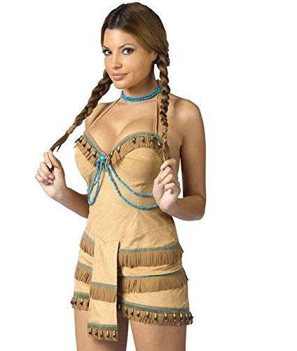 Kostüme Sexy Pocahontas (Für Damen: Sexy Native Wild West Pocahontas, Indianer-Kostüm, Größe)