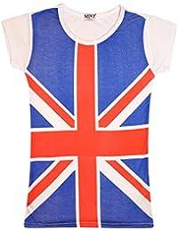 Haut Imprimé Union Jack Drapeau Britannique fille ou femme extensible T pour homme et femme