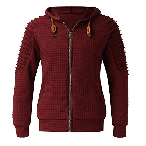 Xmiral Herren Sweatshirt Top Herbst Langarm Plaid Hoodie Mit Kapuze T-Shirt Outwear (L, X Wein Rot) (Koi-hoodie)