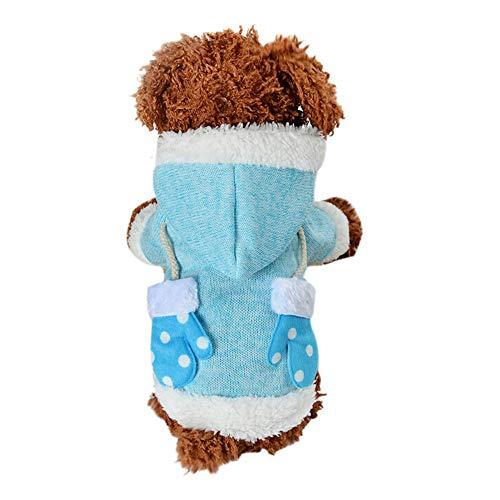 Amphia - Hundekleidung warme Mantel mit Kapuze Presse,Weihnachtshandschuhe-Haustier-Hundekatze-Winter-mit Kapuze Strickjacke-Kostüm-Kleid(XS,Himmelblau)