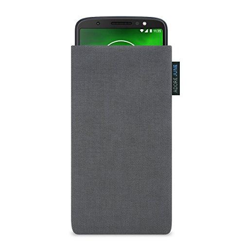 Adore June Classic Dunkelgrau Tasche für Motorola Moto G6 Plus Handytasche aus widerstandsfähigem Cordura Stoff | Robustes Zubehör mit Display Reinigungs-Effekt | Made in Europe (G6 Stoff-tasche)