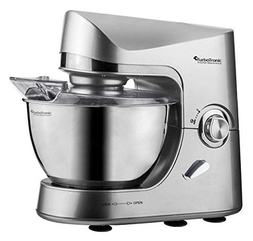 Robot de cuisine pâtisserie 2000W TurboTronic ProMix, bol en acier inoxydable de 5L, robot pétrin multifonction 2.7HP (Silver)