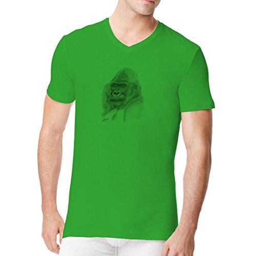 Fun Männer V-Neck Shirt - Gray Gorilla by Im-Shirt Kelly Green