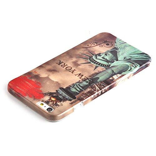 Cadorabo - Hard Cover für >            Apple iPhone 6 PLUS / 6S PLUS            < - Case Cover Schutz-Hülle Bumper im Design: LILA VEILCHEN NEW YORK - FREIHEITSSTATUE